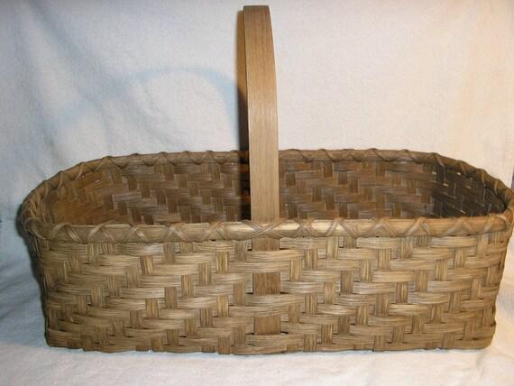 Handmade Market Baskets : Handmade ash splint style twill weave market basket