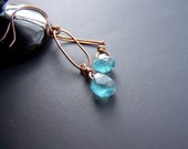 copper hoops with teardrop apatite gemstone