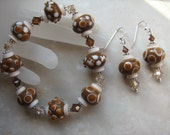 Brown Lampwork Beaded Stretch Bracelet and Earring Set Cream Swarovski Crystal