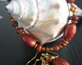 Polymer Clay Rust Bracelet with Matching Pierced Earrings