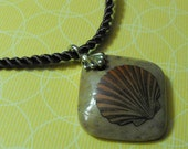 Seashells Down By the Sea Shore Hand Embellished Mookaite Pendant With Poly Twist Brown Cord Necklace