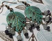 Lillian Handmade Vintage Inspired Fantasy Style Aquamarine and Amethyst Leaf Style Chandelier Dangle Earrings