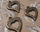 5 Pack New Antique Finish Brass Open Heart Charms