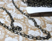 15 Feet Vintage Looking Antiqued Brass Textured Cable Chain 5X3mm Size Link Great Jewelry Supplies Free Domestic Shipping