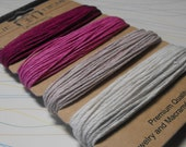 One New Card Pack of  1mm Diameter Hemp Cord 120 Feet Total In Pretty In Pink Color Palette  Great Craft and Jewelry Craft Supplies