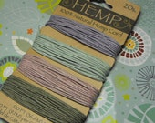 New Card Pack 1mm Diameter Hemp Cord 120 Ft Total Pastel Color Palette Purple,Pink,Lt Green, and tan Great Craft and Jewelry Craft Supplies