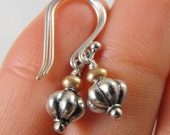 A Kiss of Luxury Golden Pearl and Silver Dangle Handmade Earrings