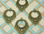 4 Pieces Antique Brass Finish Ornate Chandelier Earring or Pendant Drop Great Jewelry Supplies