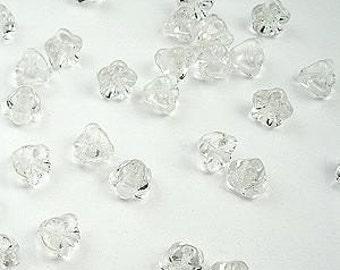 40 Pack Clear Czech Glass Baby Bell Tulip Flower Beads