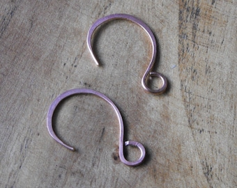 Three Pairs of Hand Made 20 Guage Copper  Ear Wires  Great jewelry Supplies