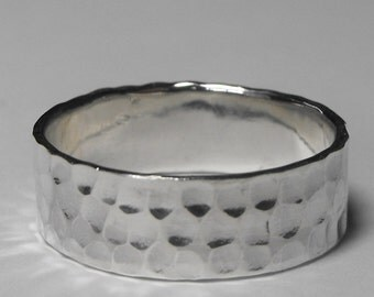 Hammered Texture Sterling Silver Handmade 7mm Wide Ring