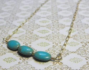 Summer Sky Turquoise 14 Karat Gold Filled Pretty Petite Gemstone Chain Necklace