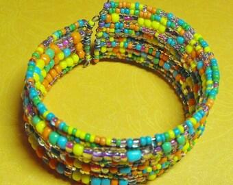 Malibu. Handmade Multiple Layer Bright Multiple Color Beaded Cuff bracelet