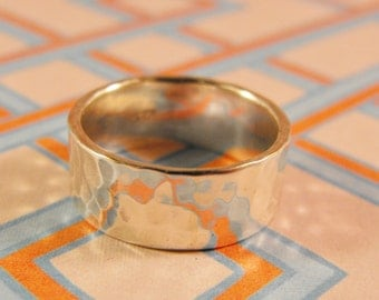 Hammered Texture Sterling Silver Size Handmade 6mm Wide Ring