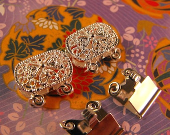 New 2 Pair Pack Silver Finish Brass Box Style Filigree Oval 15X9mm Clasps