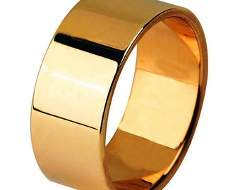 14 kt  Rose Gold Classic Smooth Cigar Style 8mm Wide Commitment or Wedding Band Custom made Size 4 through 9