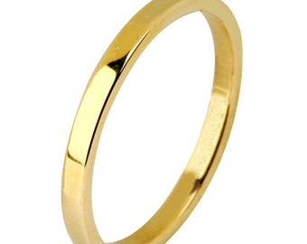 14 kt  Yellow Gold Classic Smooth Cigar Style 2mm Wide Commitment or Wedding Band Custom made Size 4 through 14