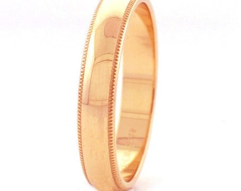 14 kt  Rose Gold Classic Millgrain Edge Style 4mm Wide Commitment or Wedding Band Custom made Size 4 through 14