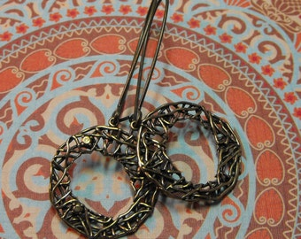 Vintage Inspired Bronze Handmade Circle Dangle Earrings