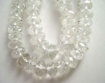 Quartz Rock Crystal Faceted Rondelle 8mm Beads-Half Strand 8 Inch Strand