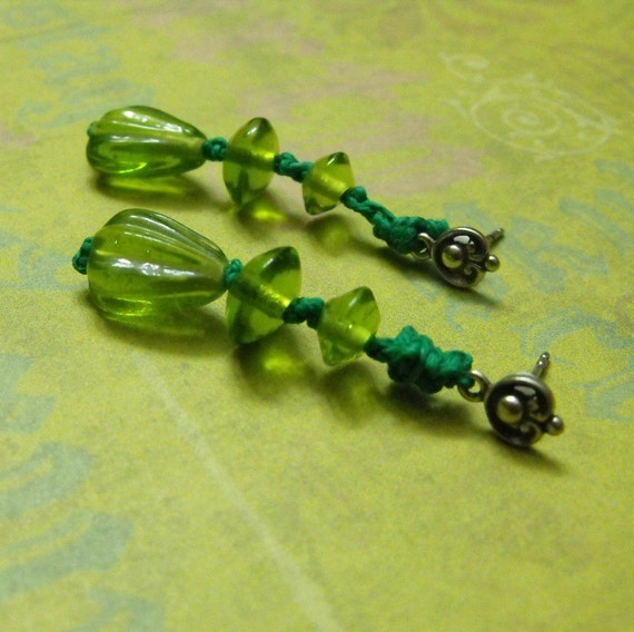 Verdant Kiss Light Green Glass Bead Dangle Sterling Silver and Hemp Earrings Unique Eco Friendly Design