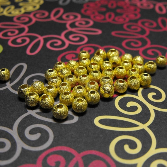 25 Pack Gold Plated Stardust Textured 4mm Round Beads Free Domestic Shipping
