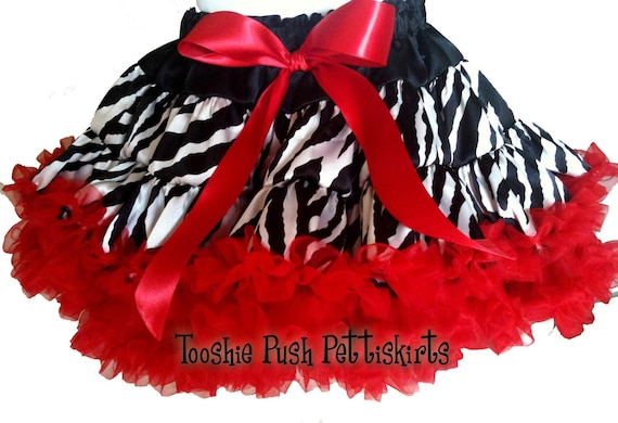 Boutique Girl Red and Zebra Tooshie Push Pettiskirt GREAT for Christmas