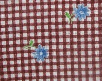 Brown Gingham with Blue Daisy Fabric
