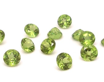 6mm Round Faceted Peridot - 1 piece