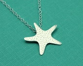 Silver Starfish Silhouette Necklace