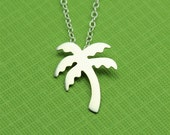 Silver Palm Tree Silhouette Necklace