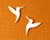 Fluttering Hummingbird Silhouette Stud Earrings in Silver
