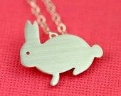Buddy Bunny Silhouette Necklace in Silver