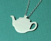 Silver Whimsical Teapot Silhouette Necklace