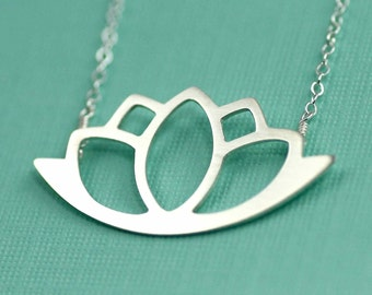 Modern Silver Lotus Necklace