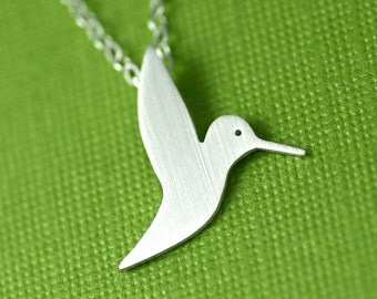 Fluttering Hummingbird Silhouette Necklace in Silver