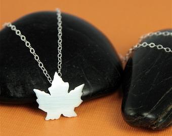 Silver Autumn Maple Leaf Necklace