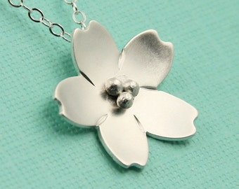 Silver Forget Me Not Flower Necklace, Wildflower Collection