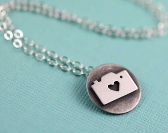 Tiny Camera Love Token Necklace in Silver