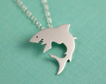 Great White Shark Silhouette Necklace in Silver