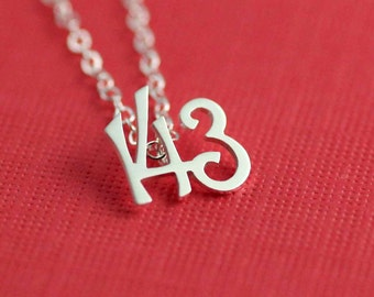 143, I Love You Necklace in Silver
