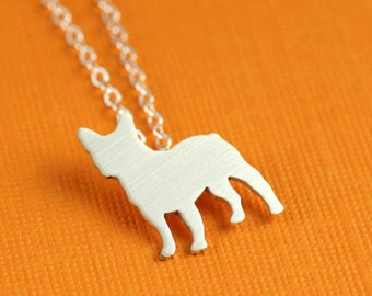 French Bulldog Silhouette Necklace in Silver