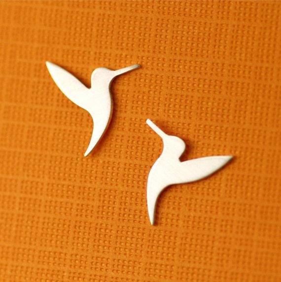 Fluttering Hummingbird Silhouette Stud Earrings in Silver