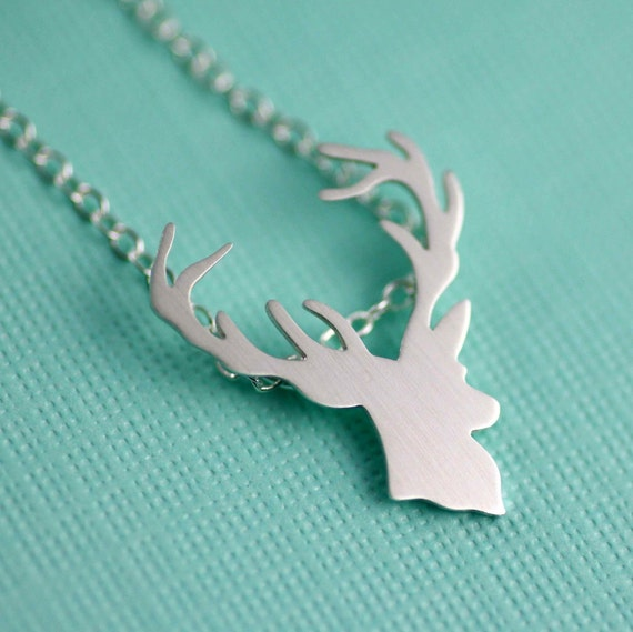 Deer Necklace. Reindeer Necklace. Buck Necklace. Stag Necklace. Woodland Lover. Animal Necklace. Gifts for her. Sterling Silver.