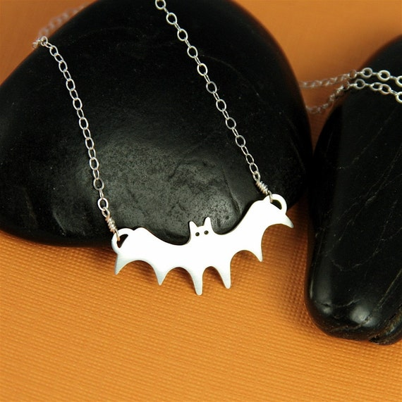 Silver Bat in the Belfry Necklace