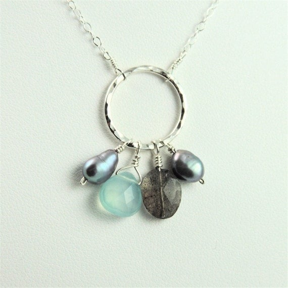 Chalcedony, Labradorite, Freshwater Peacock Pearls and Silver Hammered Circle Necklace