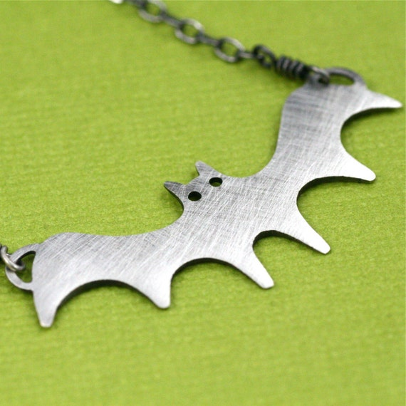 Oxidized Silver Bat in the Belfry Necklace