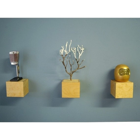 """Custom 8""""x8""""x8"""" for T. Cook.  Floating shelf cubes/ ...these are a few of my favorite things..."""