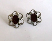 2 Pair of Floral Filigree Silver Earring Blanks with 8 x 10 mm Cabochon Mounting
