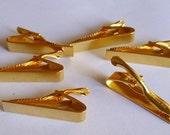 6 Gold Tie Bar Alligator Clip Glue Pad Plain Finish